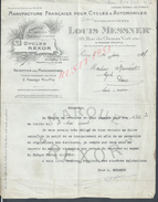 LETTRE COMMERCIALE DE 1937 LOUIS MESSNER MANUFACTURE FRANÇAISE POUR CYCLES ( REXOR ) & AUTOMOBILES PARIS PASSAGE MOUFLE - Trasporti