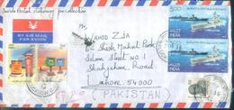 C112- Post From India To Pakistan. Ship. Letter Box. Car. Navy. - India