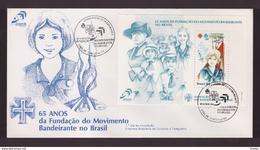 BRASILE - 13 8 1984 FDC 65° FONDAZIONE MOVIMENTO BANDEIRANTE (GIRLS SCOUT) DO BRASIL (FOGLIETTO)