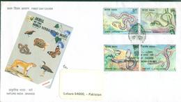 C121- Thematic FDC Posted From India To Pakistan. Snakes. Snake. Kobra - India