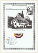 """Gedenkblatt Ausstellung In Rhöndorf """"Adenauer-Briefmarken Aus Aller Welt"""". Sonderstempel Adenauer-Haus, 1979."""
