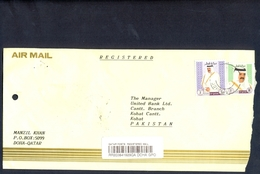 C140- Qatar Postal Used Cover, Send To Pakistan. Famous People. - Qatar