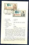 C142- Pakistan Leaflet Brochure With Stamp & First Day Cancellation Year 1966. Flag. Ayub Khan. Islamabad Capital Of Pak - Qatar