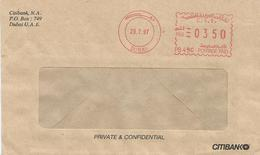 "United Arab Emirates UAE 1997 Dubai Meter Franking Pitney Bowes-GB ""A900"" PB496 Citibank Cover - Verenigde Arabische Emiraten"
