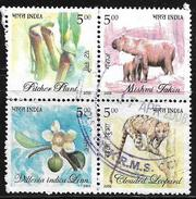 India 2005 Flora & Fauna Of North East India Setenant Block Of 4 Used Stamp # AR:26