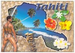 Polynésie Française SOUVENIRS DeTAHITI (homme Nu Tatouage Tattoo Fleurs) ( Photo Teva Sylvain 1473)*PRIX FIXE - Polynésie Française