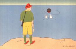 ILLUSTRATION DE OLOUF SUR LA PLAGE TETE NOIRE PIEDS BLANCS PAS CIRCULEE - Illustrators & Photographers