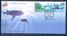 C186- India 2009 Joint Issue With Philippines. Gangetic Dolphin, Butanding, Dolphins, Fish, Fishes. - Joint Issues