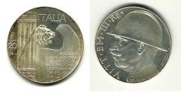 RICONIO LIRE 20 VITTORIO EMANUELE III   ELMETTO  CAPPELLONE - 1900-1946 : Vittorio Emanuele III & Umberto II