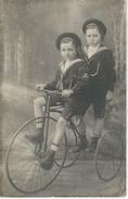 Carte Photo Anonyme - TRICYCLE Avec Enfants - VELO - CYCLISME - Courrier De 1913 - Cyclisme