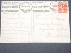 FRANCE - Petit Piquage Décalé Sur Type Semeuse Bord De Feuille Sur Carte Postale De Cannes En 1926  - L 8033 - Variétés: 1921-30 Lettres & Documents
