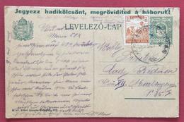 """UNGHERIA HUNGRY CARTOLINA POSTALE 8+2  F. CON SOVRASTAMPA """" IEGYEZZ...."""" PER VIENNA  IL 20/12/1919"""
