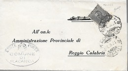 1931 Regno - Piego Comunale C. 35 Effigie Vittorio Emanuele Da Placanica Per Reggio Calabria - Frode - Uso Singolo - 1900-44 Vittorio Emanuele III