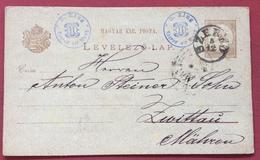 UNGHERIA HUNGRY CARTOLINA POSTALE MAGYAE KIR.POSTA 2 Kr DA  SZEGED SEGHEDINO A ZWITTAU MORAVIA IL 5/12/1886