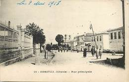 Pays Div-ref J267- Albanie - Koritza - Rue Principale  - Carte Bon Etat  - - Albanie