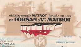 Facture 1935 / Ets MATROT / FORSAN / Tours Précision Travail Métaux / 52 Joinville / Haute Marne - Frankrijk