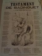 AFFICHE.Testament De Badinguet . - Journaux - Quotidiens
