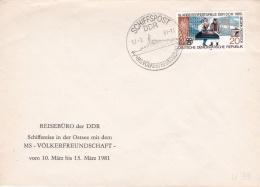 M/S Völkerfreundschaft In The Ostsee P/m Schiffspost DDR 1981   (T18-3) - Schiffe