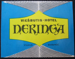HOTEL CAMPING INN DECAL NERINGA VILNIUS VIESBUTIS LITHUANIA USSR RUSSIA LUGGAGE LABEL ETIQUETTE AUFKLEBER DECAL STICKER - Hotel Labels