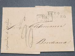 """FRANCE - Cachet Rectangle D 'entrée """" Allemagne Par Givet """" Sur Lettre De Hambourg Pour Bordeaux En 1823 - L 8070 - Poststempel (Briefe)"""