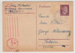 Reich, Slovenia WWII Postal Stationery Postcard Postkarte Censored Travelled 1942 Marburg To Gornji Milanovac - Germania