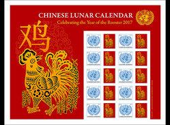 Verenigde Naties / United Nations - Postfris / MNH - Sheet Jaar Van De Haan 2017 - Gezamelijke Uitgaven New York/Genève/Wenen