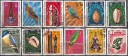 Nouvelles Hebrides 1972 Michel 335 - 346 O Cote (2005) 42.00 Euro Art, Oiseaux, Coquillages Cachet Rond - Légende Française