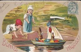 ILLUSTR. ?  BONNES PAQUES --Enfants + Lapins + Bateau--voir 2 Scans - Easter