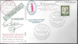 5. SINFONIE LUDWIG VAN BEETHOVEN ENVELOPE GERMANY ISLAS ORCADAS DEL SUD SOUTH ORKNEY SIGNEE YEAR 1961 VOZNESENSKI