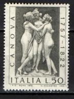 ITALIA - 1972 - ANTONIO CANOVA - SCULTORE NEOCLASSICO - NUOVO MNH