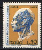 ITALIA - 1972 -LEON BATTISTA ALBERTI - ARCHITETTO DEL RINASCIMENTO - NUOVO MNH