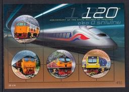 THAILAND 2017 MINIATURE SHEET. 120th Anniversary Of The State Railway Of Thailand - Eisenbahnen
