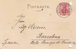 POSTKARTE. 21 FEB 1908. EXPORTMUSTERLAGER STUTTGART  BARCELONA