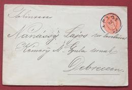 UNGHERIA HUNGRY Busta Postale 5 Kr DA  APAGY PER DEBRECZEN IN DATA 23/8/1897