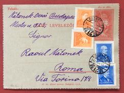 UNGHERIA HUNGRY  BIGLIETTO POSTALE DA BUDAPEST A ROMA IN DATA 15/8/1933