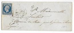 1855 - ISERE - LETTRE Avec PC 3446 + CURSIVE De URIAGE TRES RARE EN 1855 ! => LYON - Marcophilie (Lettres)