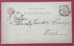 UNGHERIA HUNGRY  CARTOLINA  POSTALE  2 Kr DA MOHACS PER VIENNA IN DATA 14/6/1887