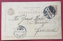 UNGHERIA HUNGRY  CARTOLINA  POSTALE   DOPPIA  5  F. DA DA BUDAPEST A  FIUME In Data 7/4/1909