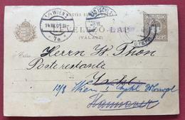 UNGHERIA HUNGRY  CARTOLINA  POSTALE   DOPPIA  5  F. CON VARIE RISPEDIZIONI IN DATA 14/8/1909