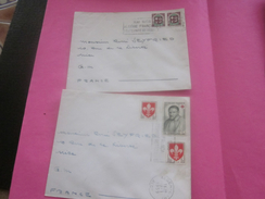France (ex-Colonie Française) Algérie 1950-62-  2 Lettres & Document OMEC - Flamme(Timbre De Collection)ALGER -   NICE - Algeria (1924-1962)