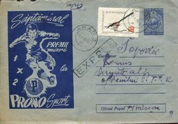 21935  Romania, Stationery Cover Circuled Registered 1960 Showing  Football  And Prono Sport