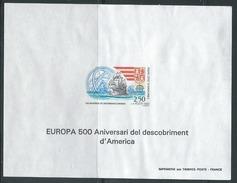 ANDORRE - EPREUVE DE LUXE -  Europa 1992 - Christophe Colomb - 2 Scans