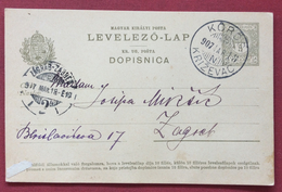 UNGHERIA HUNGRY  CROAZIA CARTOLINA  POSTALE   DOPISNICA  5  F. DA KÖRÖS (KRIZEVAC)  A ZAGABRIA IN DATA 18/3/1907