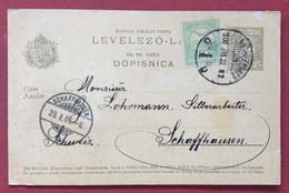 UNGHERIA HUNGRY  CROAZIA CARTOLINA  POSTALE   DOPISNICA  5+5 F. DA ZAGREB ZAGABRIA A SCHAFFHUUSEN IN DATA 27/1/1906