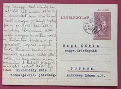 UNGHERIA HUNGRY  CARTOLINA  POSTALE  12 F. CON ANNULLO AMBULANTE  ROZSNYO - FÜLEK 89 IN DATA  11/1/1942