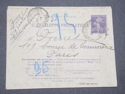 FRANCE - Enveloppe Pneumatique Type Semeuse De Charenton Pour Paris En 1914 - L 8135 - Pneumatiques