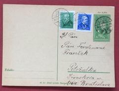 """UNGHERIA HUNGRY  CARTOLINA  POSTALE  6 F.+6+4 CON ANNULLO UJPEST PER  PETRZALKA  """"VIA BRATISLAVA"""" IL 4/2/1935"""