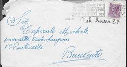 """ANNULLO A TARGHETTA """"DECENNALE ARTE RIMINI...""""  UFF. RIMINI - ORNAGHI 1206.59 SU BUSTA 1959"""