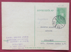 UNGHERIA HUNGRY  CARTOLINA  POSTALE  6 F. DA BUDAPEST PER CITTA' IN DATA 25/5/1937