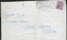"""ANNULLO A TARGHETTA """"CELEBRAZIONI COLOMBIANE...""""  UFF. GENOVA - ORNAGHI 1211.59 SU BUSTA 1959"""